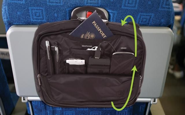 d3598f37f63d This innovative bag with its patented design wraps around the airplane seat  in front of you so you have quick access to all yo