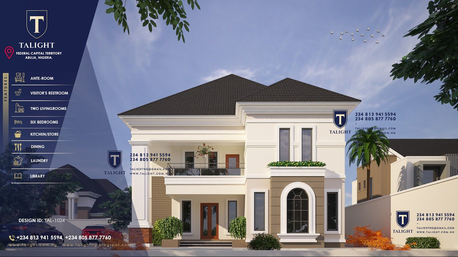 TALIGHTNG Architectural Design Of Six Bedroom Duplex Plan