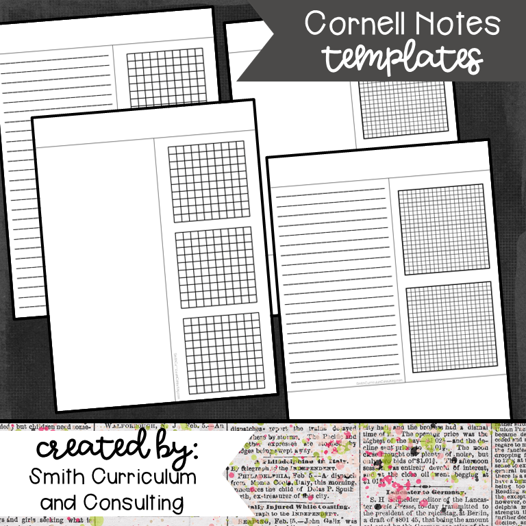 Freebie Cornell Notes Templates In Four Different Formats