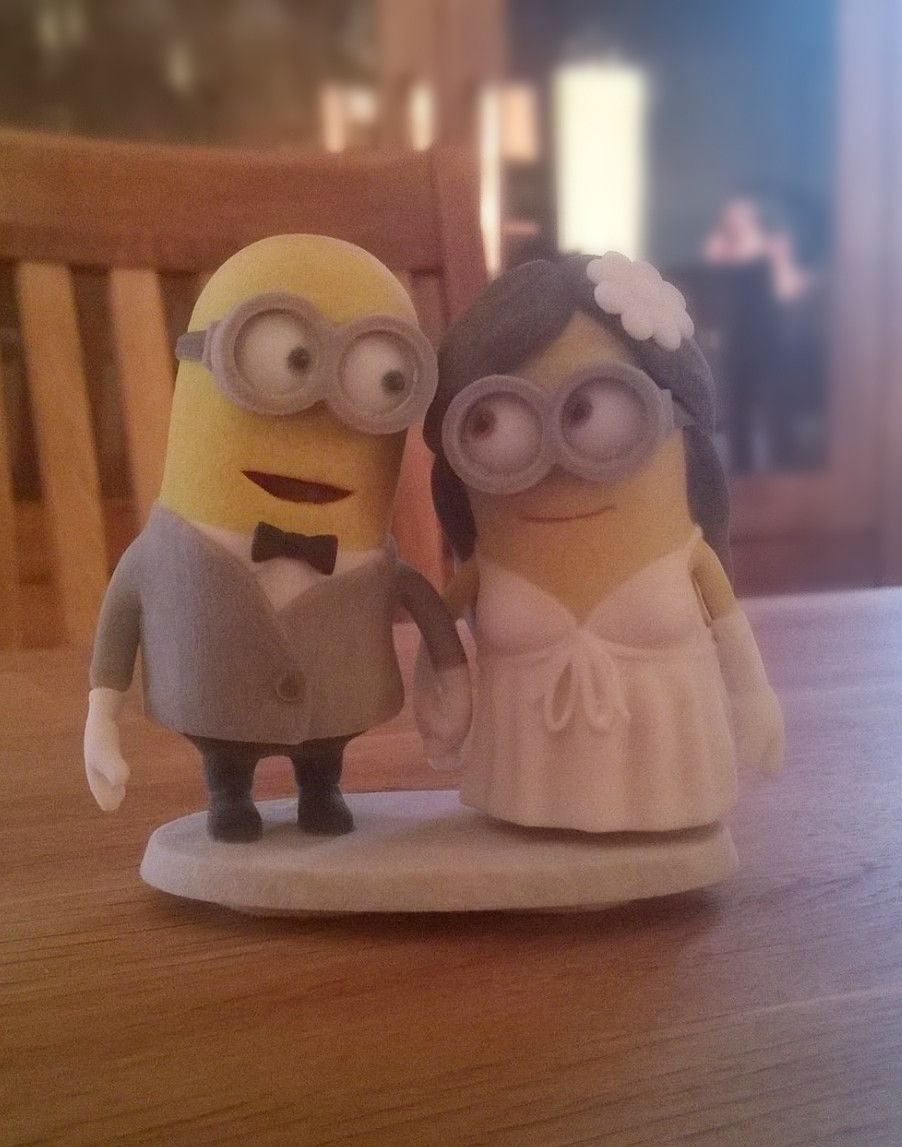 D printed minion wedding cake topper tartas novios y boda