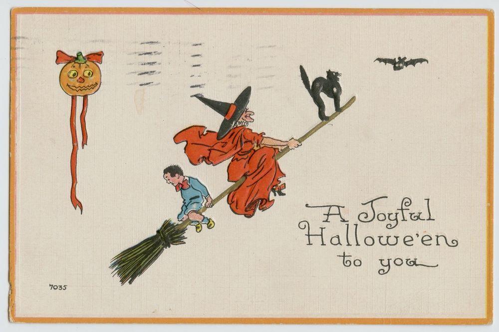 Antique  A Joyful Halloween  Embossed postcard