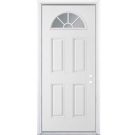Masonite Clear Glass Left Hand Inswing Primed Steel Prehung Entry Door With  Insulating Core (