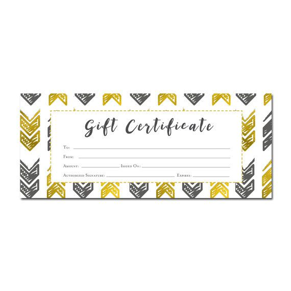 Gold Arrow Aztec Tribal Gift Certificate Download, Premade Gift - printable gift certificate template