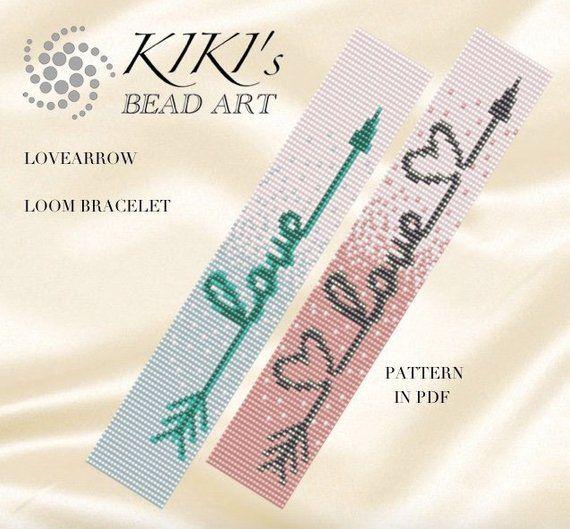 Bead loom pattern, pattern, LOOM bracelet pattern for the Lovearrow bracelet in PDF – instant download