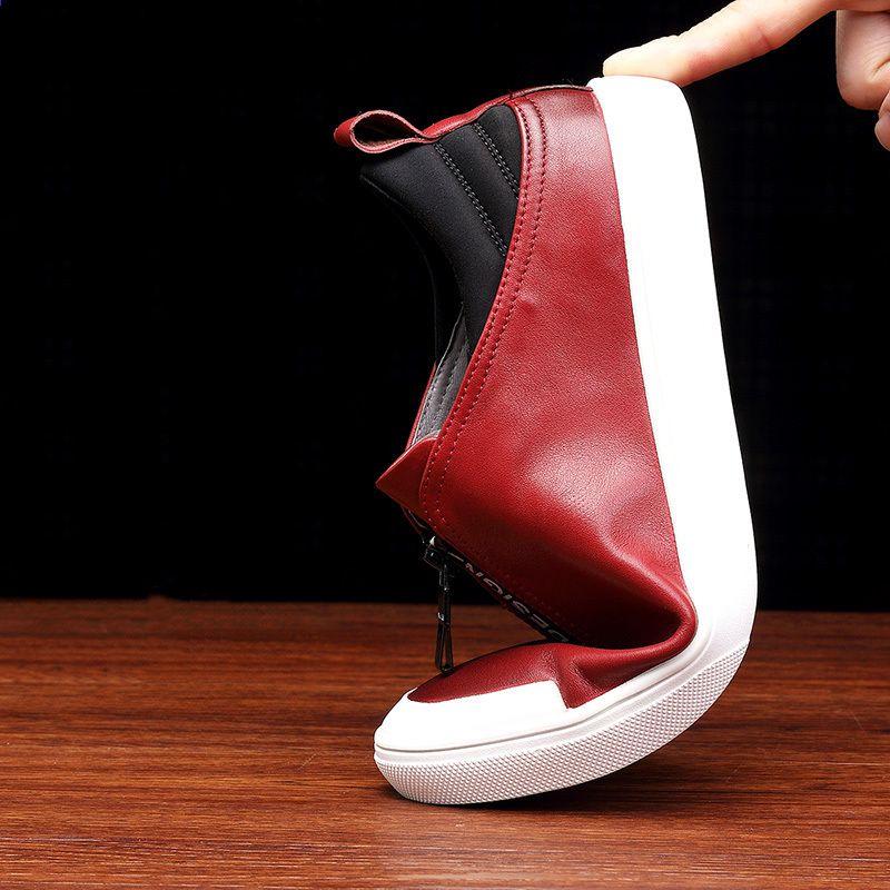 ab8c1bcb8ee9 Echtes Leder Schuhe Männer Marke Schuhe rutschfeste Dicke Sohle Mode Herren  Freizeitschuhe Männlichen Hochwertigen Rindleder