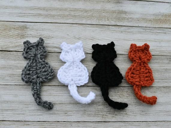 Super Simple Cat Applique Crochet Pattern, instant download pdf easy crochet pattern, kitty cat design, beginner crochet cat embellishment