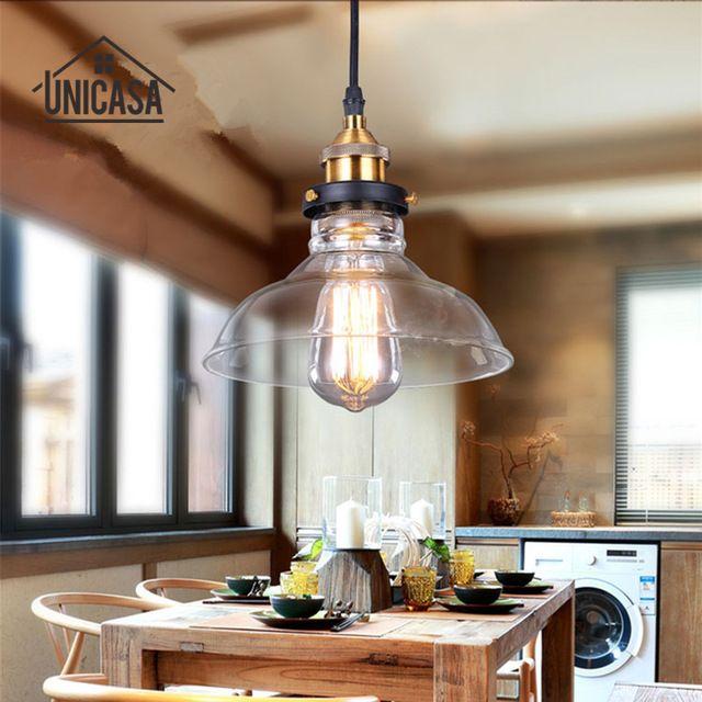 Lampade Sospese Cucina.Moderno Paralume In Vetro Lampade A Sospensione Vintage