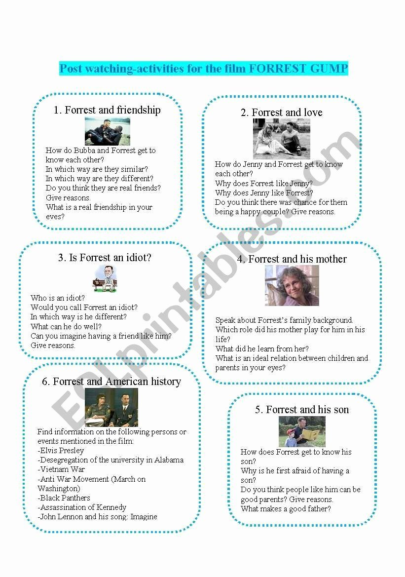 Forest Gump Lesson Plans Lovely Post Watching Activities Forrest Gump Esl Worksheet By Forrest Gump Lesson Plans Printable Lesson Plans