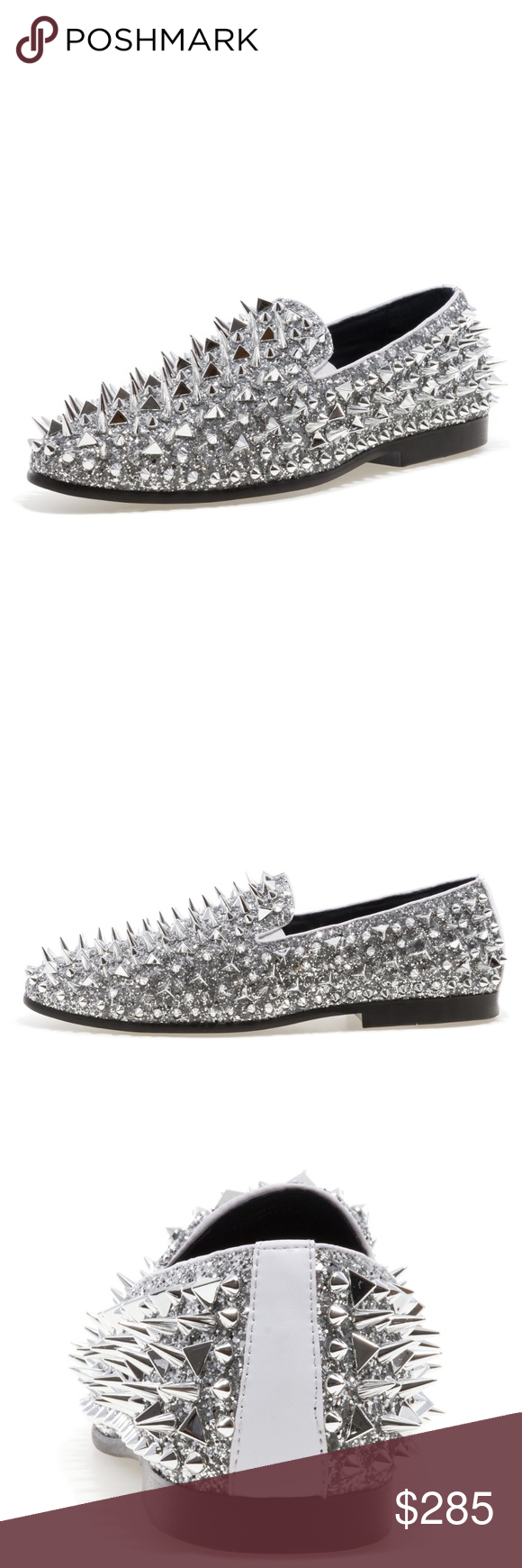 6492f436883 Jump NewYork Lord - Silver Spiked Loafers Material  Textile   Leather Upper  Sole  Rubber