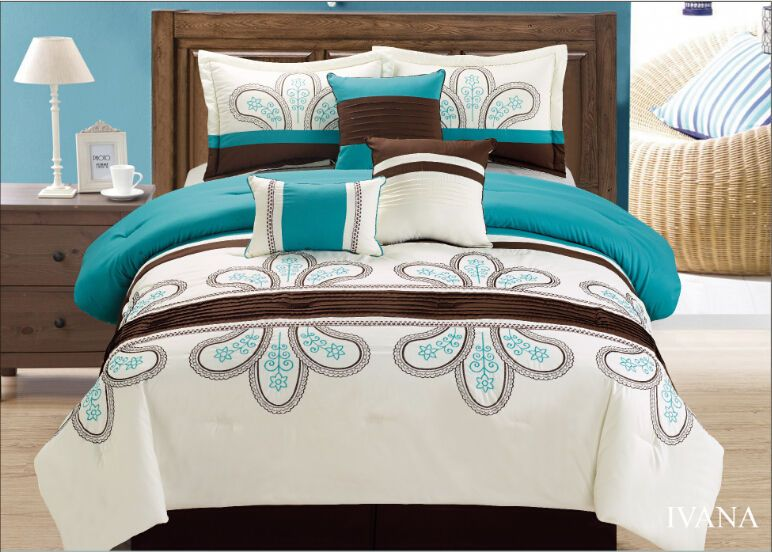 Off White Turquoise Brown 7 Pcs Embroidery Comforter Bedding Set  #GoldenLinensIvana