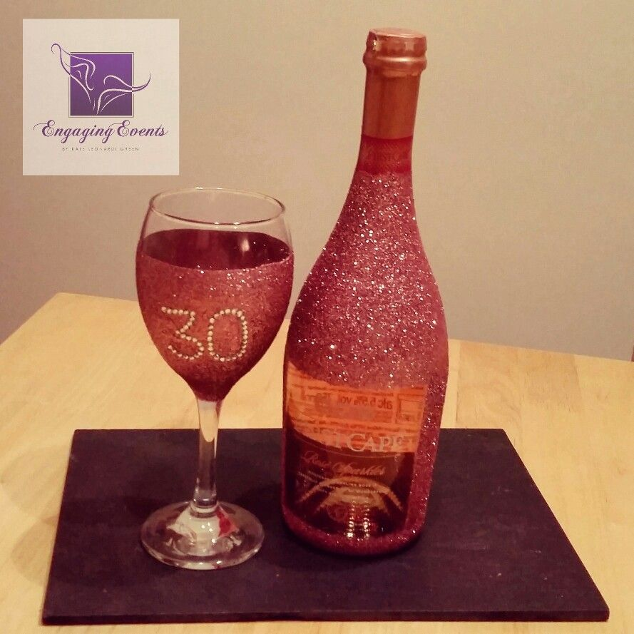 Blush Pink Sparkle Bottle Of Bubbly Rhynestone Gems With Sparkle Wine Glass Created For 30th Birthday Gift Set Www En Sparkle Bottle Wine Bottle Gift Bottle