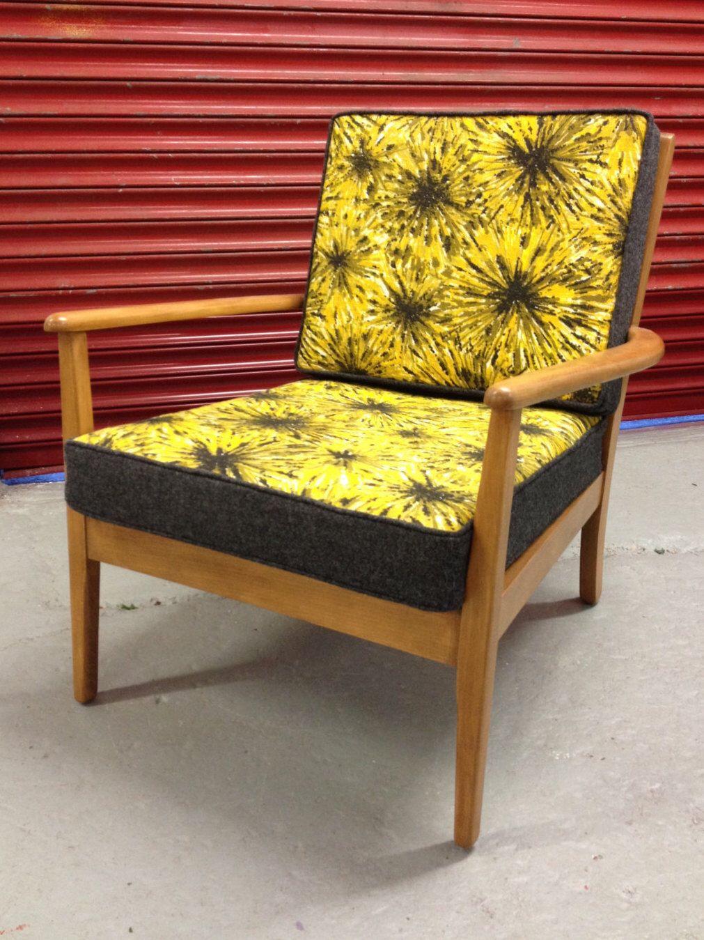 Retro Heals Chair 1950's barkcloth & Abraham Moon Wool