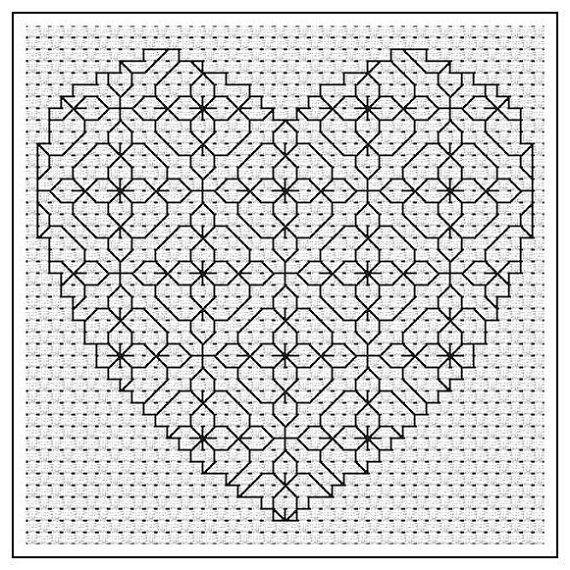 Blackwork PDF Chart - Primrose Heart | Blackwork | Pinterest ...