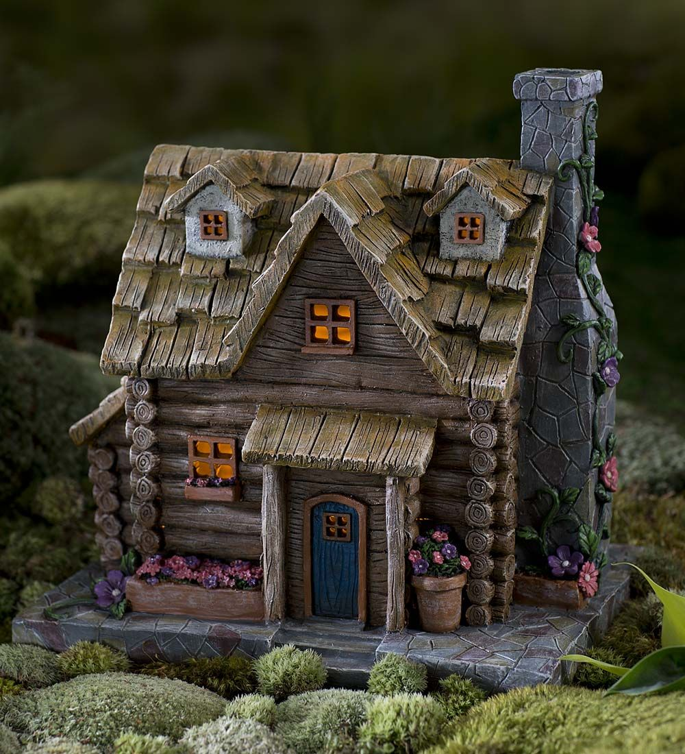 fairy garden solar log cabin halloween decorations miniature - Miniature Halloween Decorations