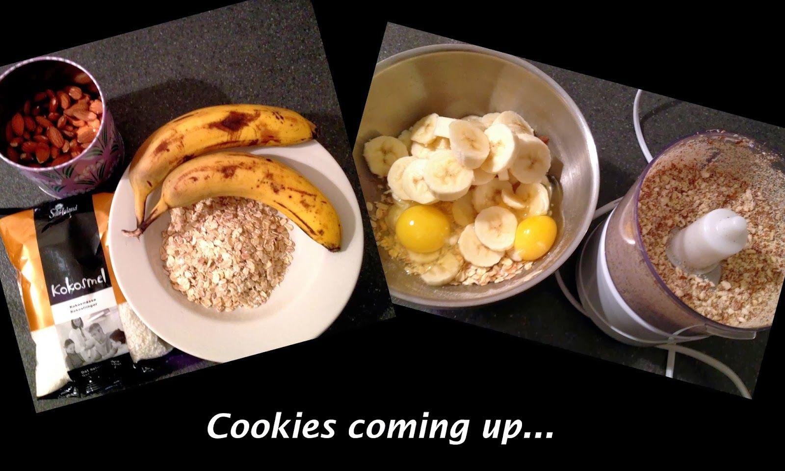 Banan og havregryns cookies