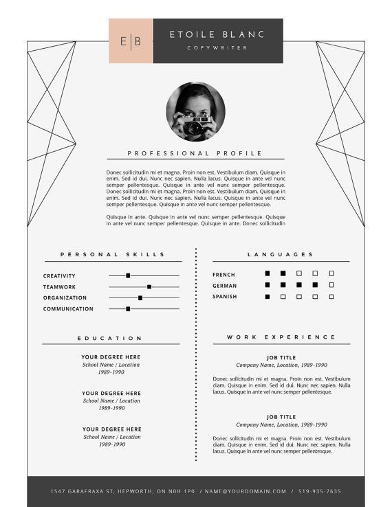 Creative Resume Design Modern Resume Template + Cover Letter for MS Word & Pages . 2 page Resume Template . Instant Download • Etoilé