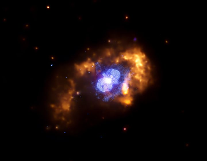 Eta Carinae is an extremely bright and unstable star located a mere stone's throw - astronomically speaking - from Earth at a distance of only about 7,500 light years. The star is thought to be consuming its nuclear fuel at an incredible rate, while quickly drawing closer to its ultimate explosive demise. When it does explode, it will be a spectacular fireworks display seen from Earth, perhaps rivaling the moon in brilliance. Credit: X-ray: NASA/CXC/GSFC/M.Corcoran et al.; Optical…