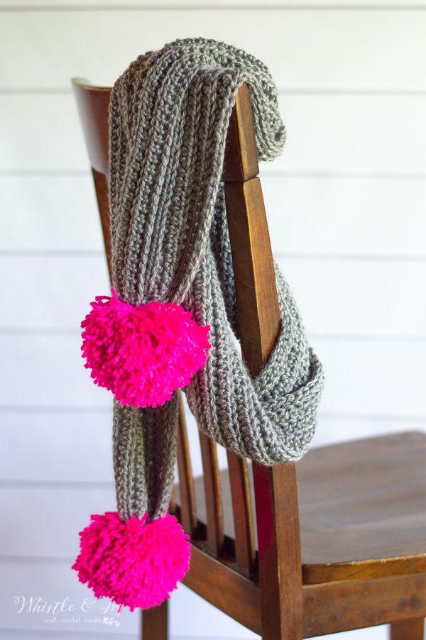 Ribbed Crochet Pom-Pom Scarf - Free Crochet Pattern | Pinterest ...