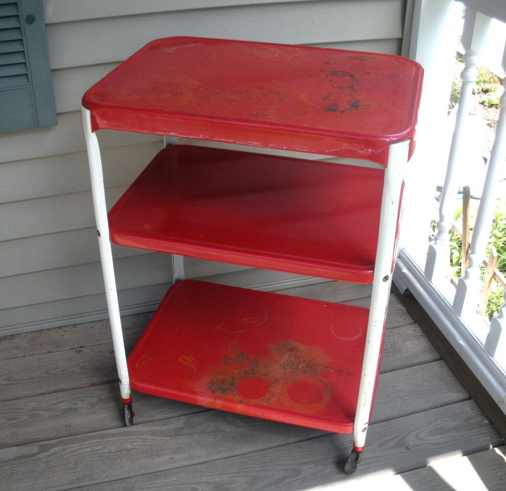 Delicieux Vintage Cosco Red U0026 White Metal Utility Kitchen Cart