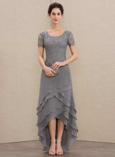 A-Line Scoop Neck Asymmetrical Chiffon Lace Mother of the Bride Dress With Cascading Ruffles (008179195) #groomdress