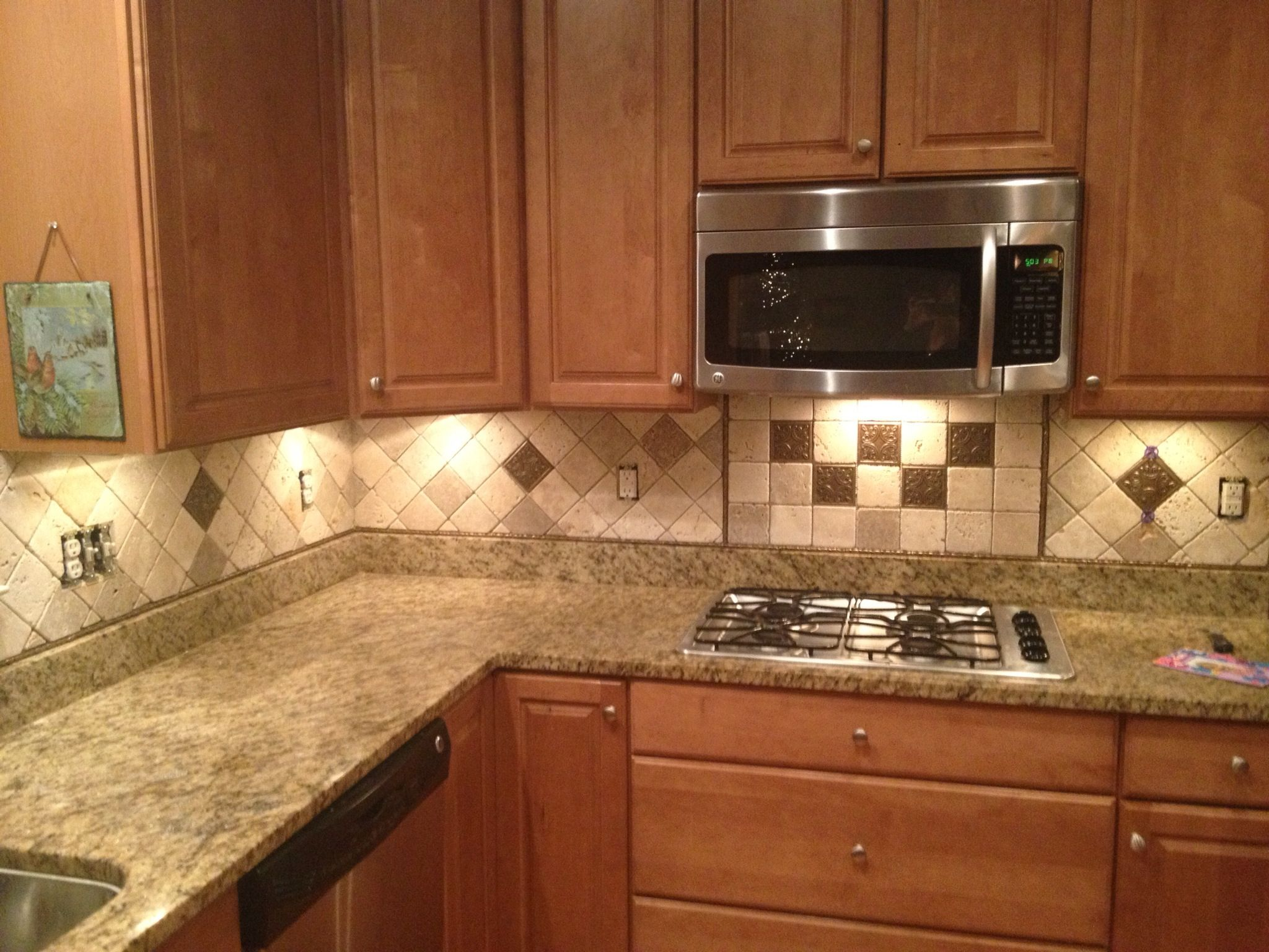 our completed backsplash tumbled marble 4x4 tiles mixed neutral our completed backsplash tumbled marble 4x4 tiles
