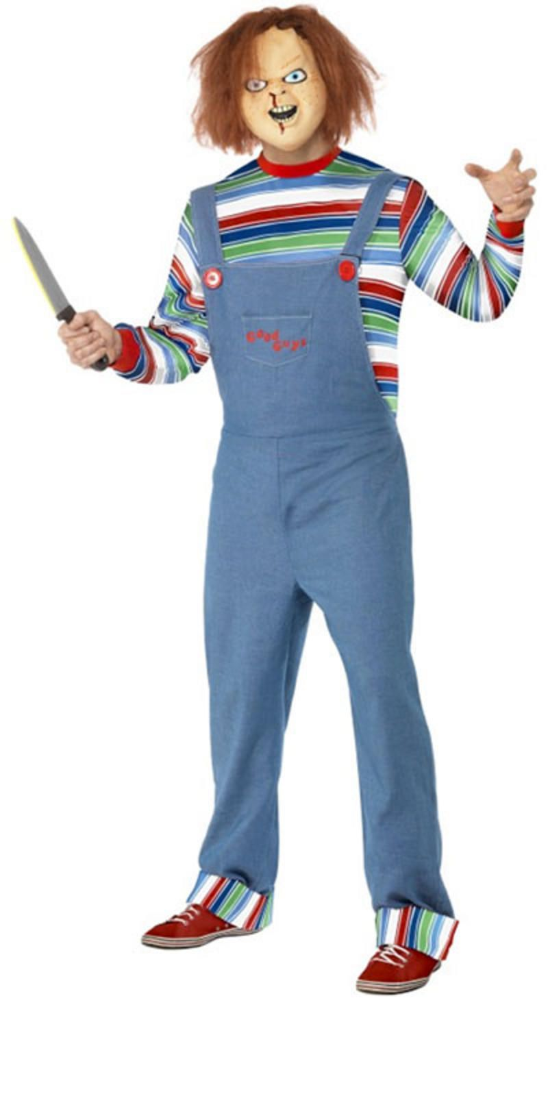 A Chucky fancy dress costume that includes Top, Dungarees and Mask ...