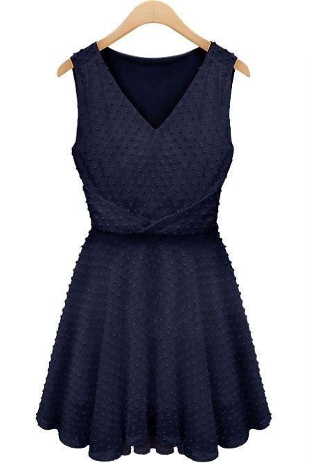 Dark Blue V Neck Dress//