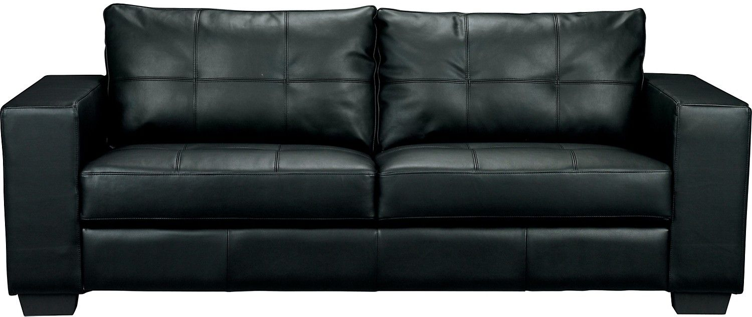 Living Room Furniture - Costa Black Bonded Leather Sofa The brick $500