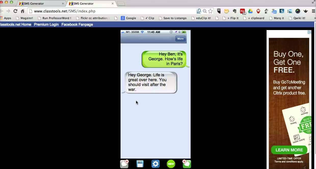 How to make fictional text message exchanges for the