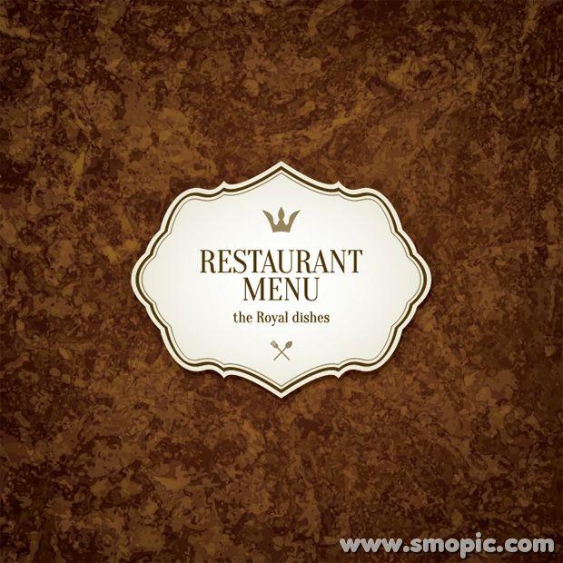Brown retro background design Restaurant menu cover ...