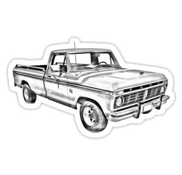 1975 Ford F100 Explorer pickup truck illustration stickers