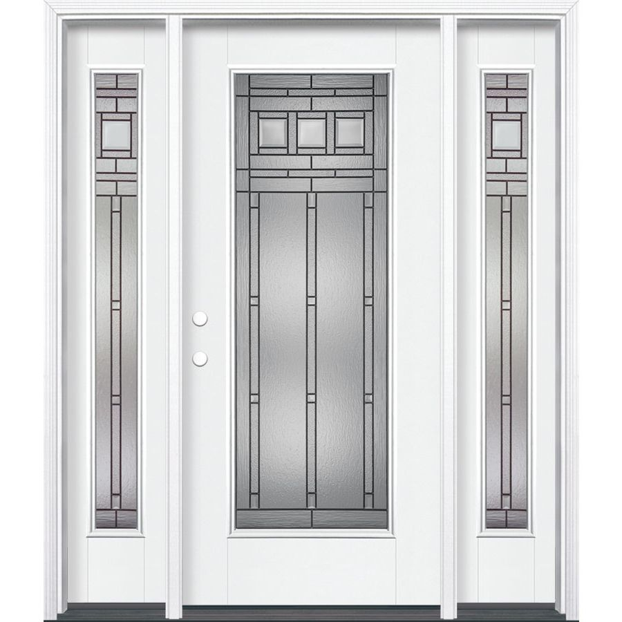 Masonite Craftsman Full Lite Decorative Glass Right Hand Inswing Arctic White Painted Fiberglass Prehung Entry Door With Insulating Core Common 64 In X 80 In Entry Doors Entry Door With Sidelights Glass Decor