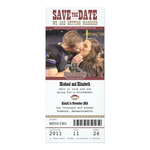 Wedding Save The Date Football Ticket Sports Wedding Invitations
