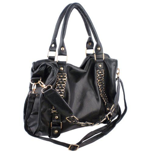 MG Collection EIDER Black Gold Chain Decor Office Hobo Shoulder ...