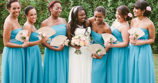 Unique Pink Blue British Caribbean African Wedding
