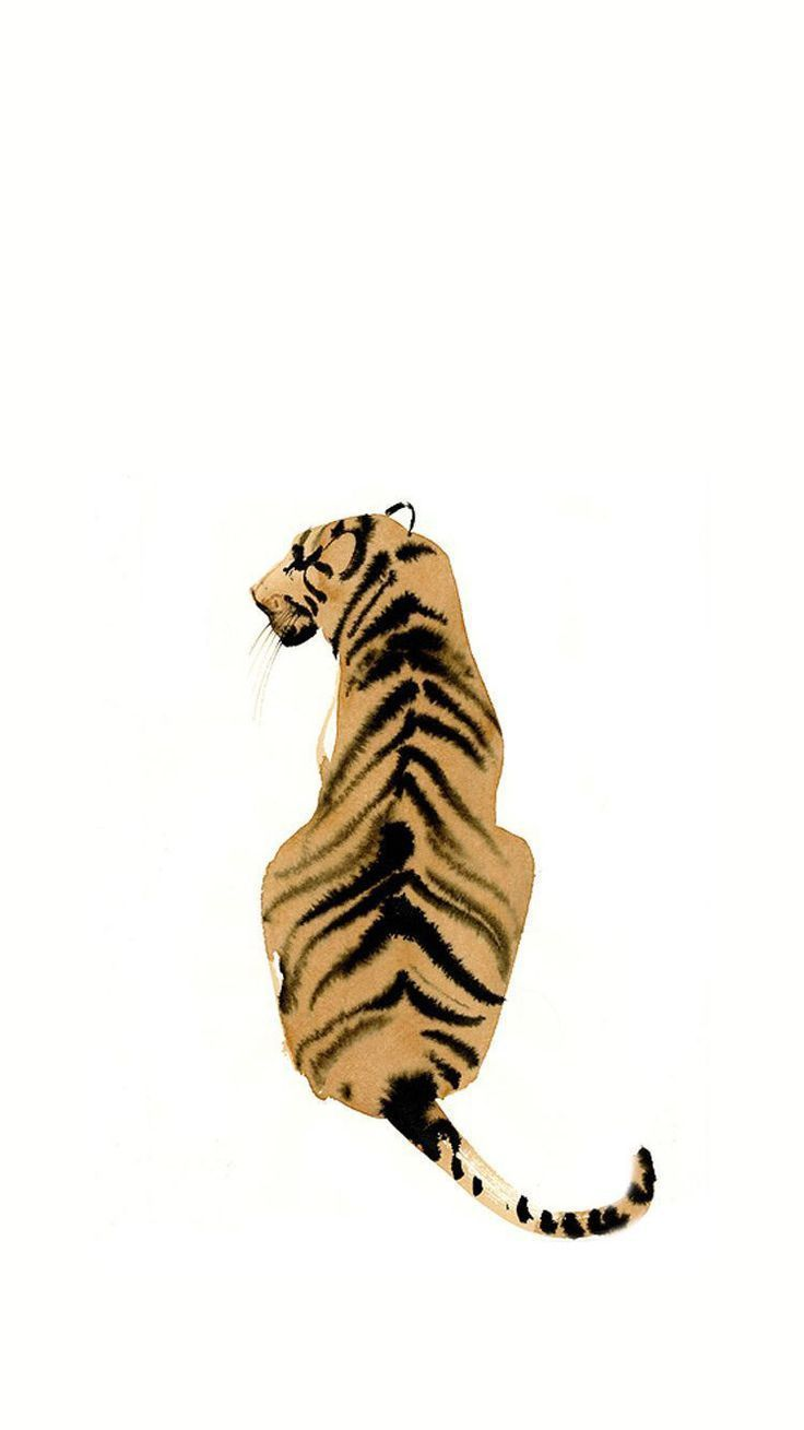 Photo of Tiger painting illustration simple watercolor ink art animal