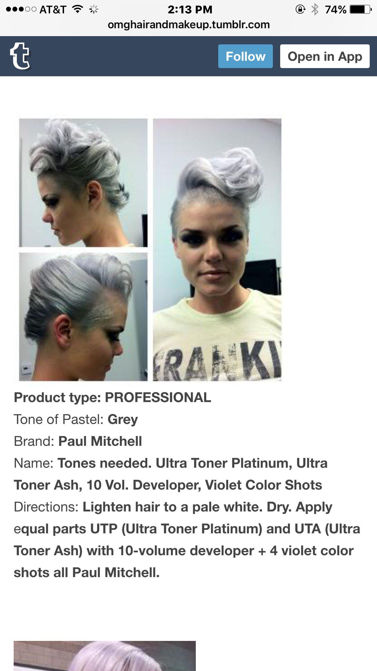 Grey Formula Paul Mitchell Fantasy Hair Color Paul Mitchell Color Hair Color Formulas