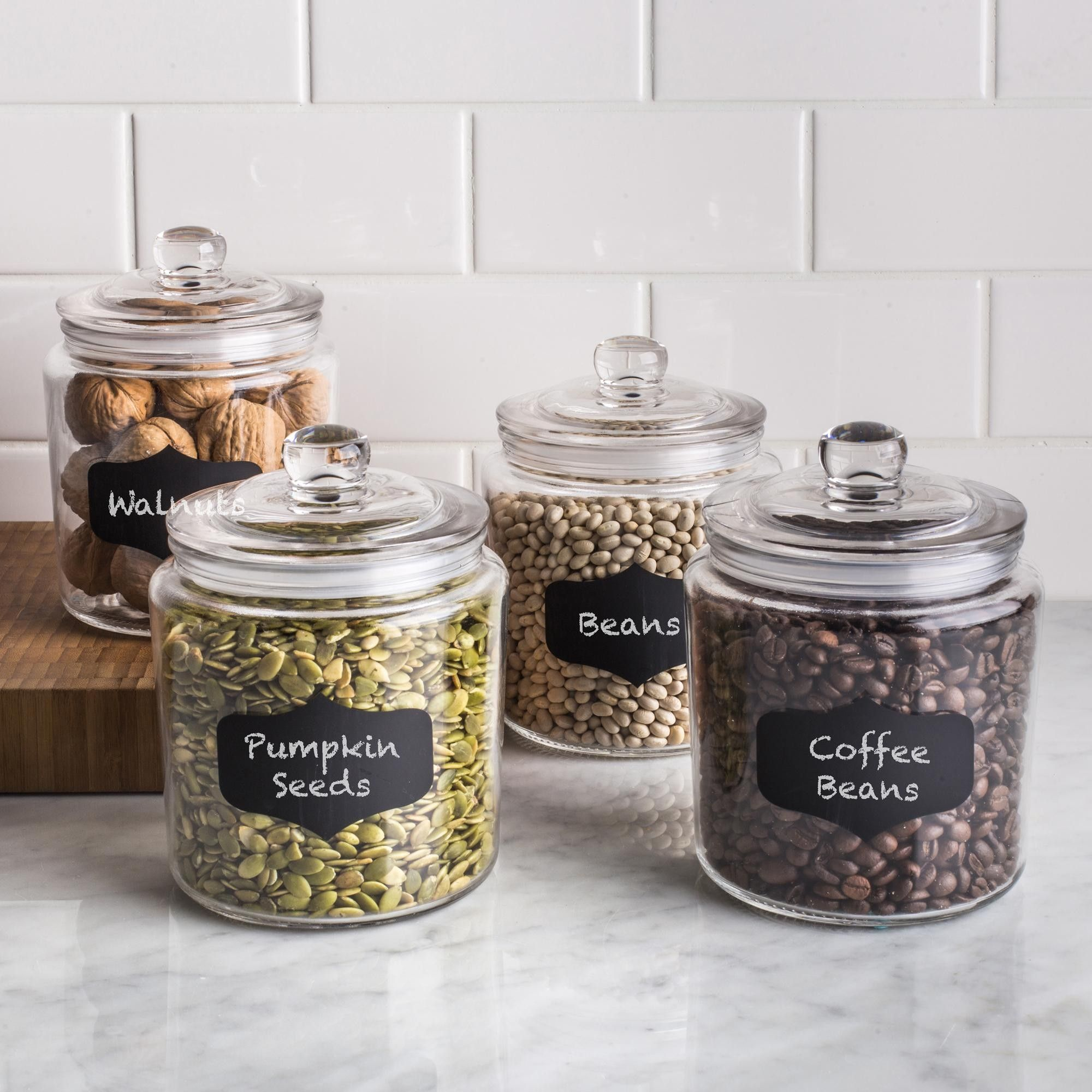 KSP Chalkboard Glass Canister with Lid - Set of 4 (Clear) | Glass ...