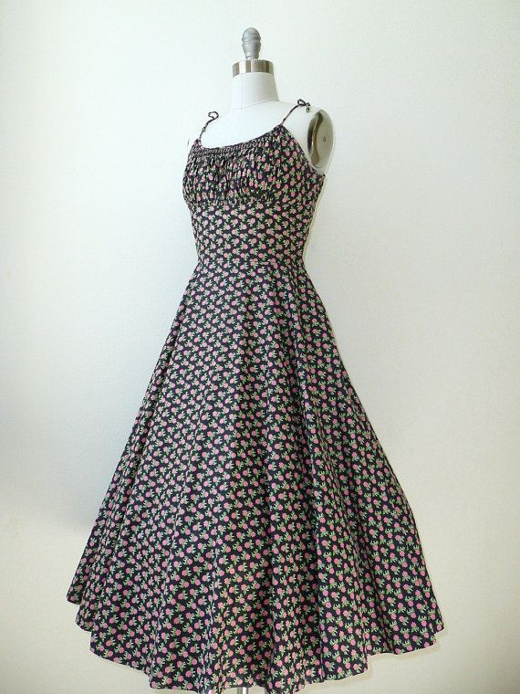 vintage 1950s Dress // 1950s Kay Windsor Floral Cotton Sundress. $85.00, via Etsy.