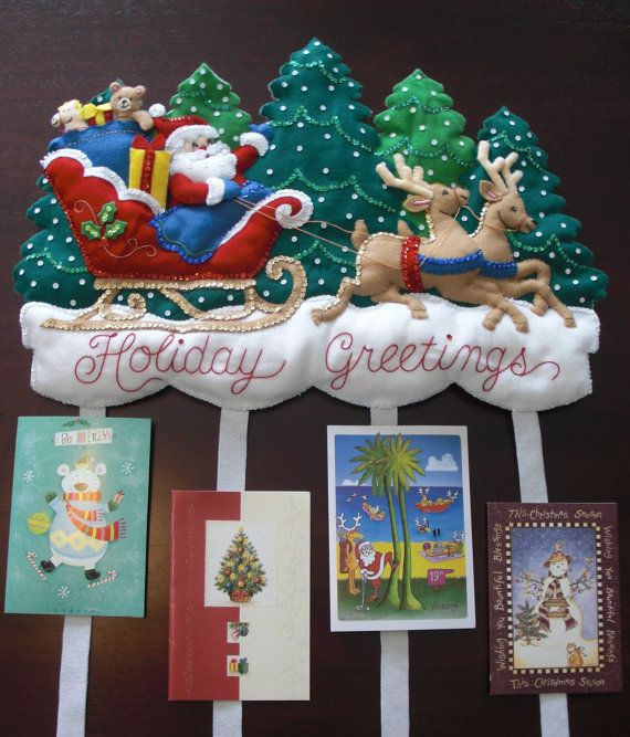 Finished holiday greetings card holder vintage bucilla this is a fun finished holiday greetings card holder vintage bucilla this is a fun and festive card holder perfect for displaying all of your special m4hsunfo