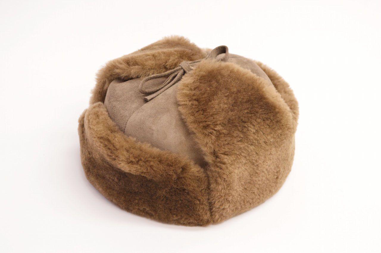 Mistral(ミストラル)シープスキン 羊革 ラムファー 羊毛 ムートン モスコー 防寒帽子 内部キルティング