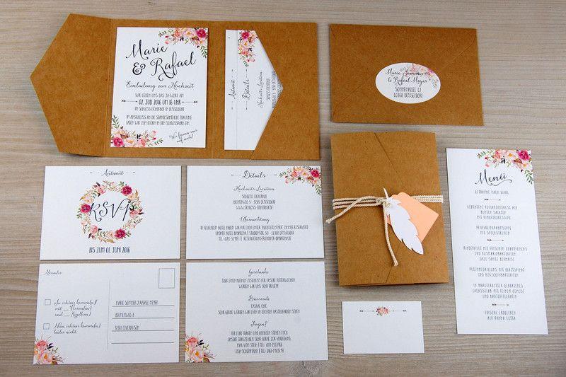 Einladungskarten   POCKETFOLD M 30x Einladungskarten Set Hochzeit   Ein  Designerstück Von Wildchildwedding Bei DaWanda