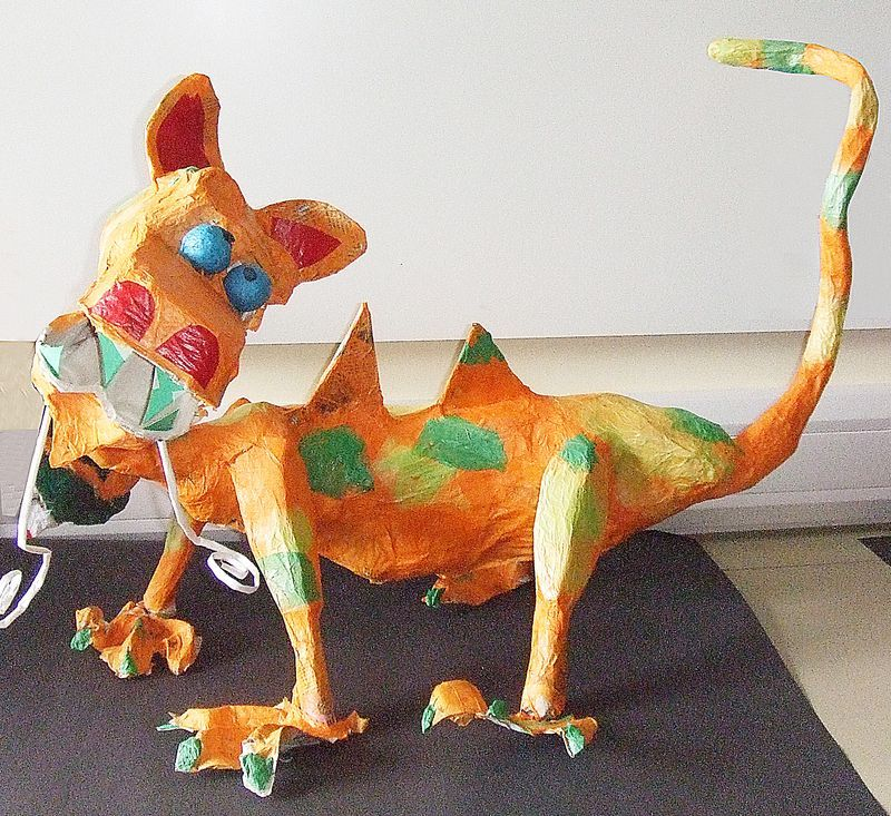 Paper mache dragon from recycled materials form art for Paper mache ideas for kids