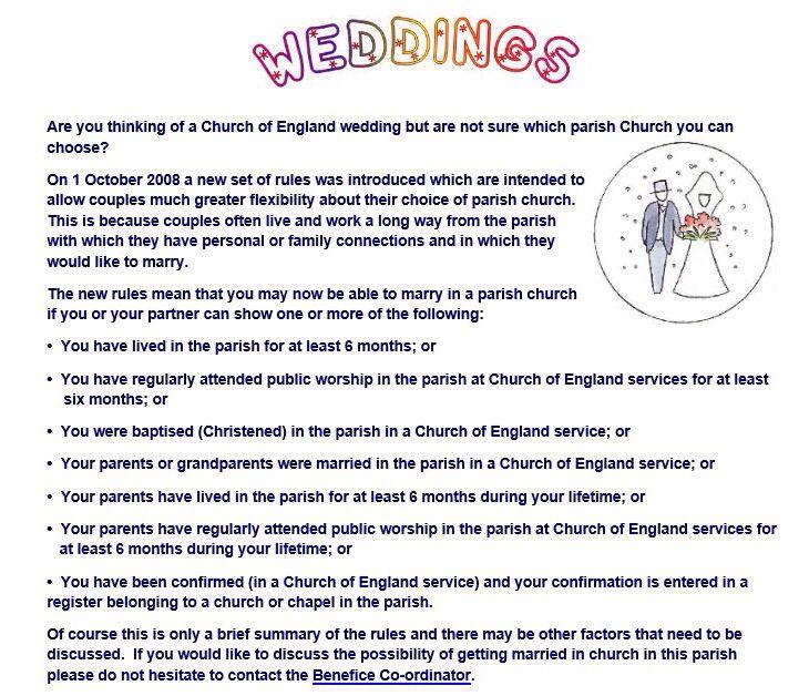 Coe Parish Church Wedding Service Requirements