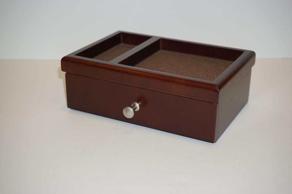 Wood Jewelry Organizer Box Storage Dresser Valet Mens Tray Wallet