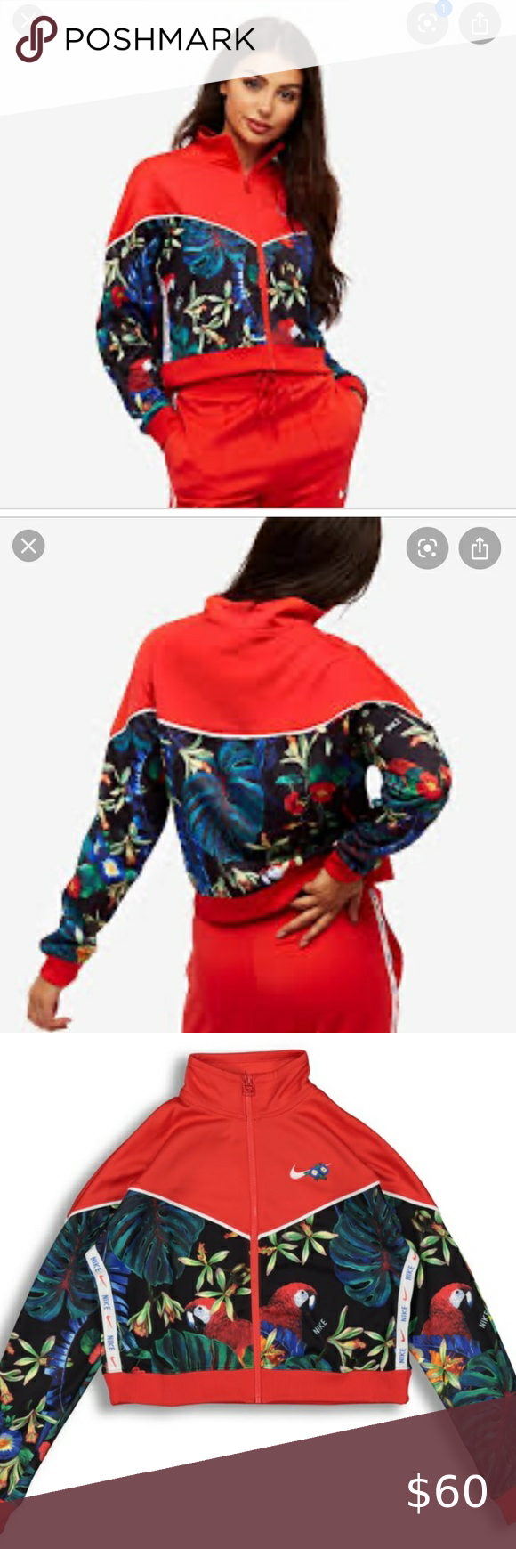 Nike Tropical Print Red Jacket Clothes Design Fashion Red Jacket [ 1740 x 580 Pixel ]