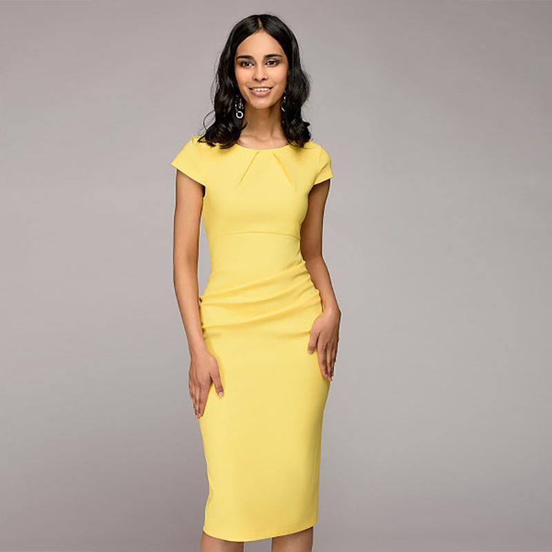5187439cf2e88 Dress Women Sexy Solid Slim Dress Short Sleeve O-Neck Office ...