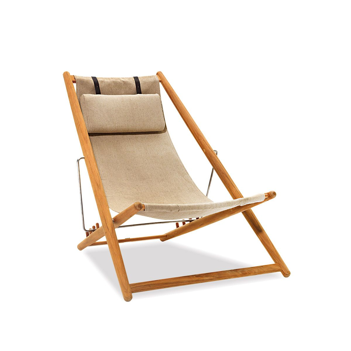 Teak Adjustable Outdoor Sling Chair In Natural Ihland Collection Outdoor Chairs Deck Chairs Folding Lounge Chair
