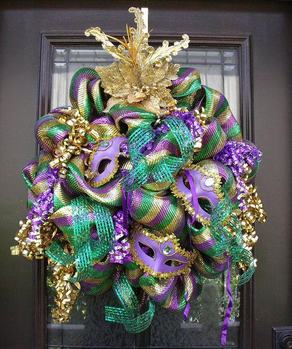 mardi gras wreath fat tuesday wreath deco mesh by luxewreaths 15500 - Mardi Gras Decorations