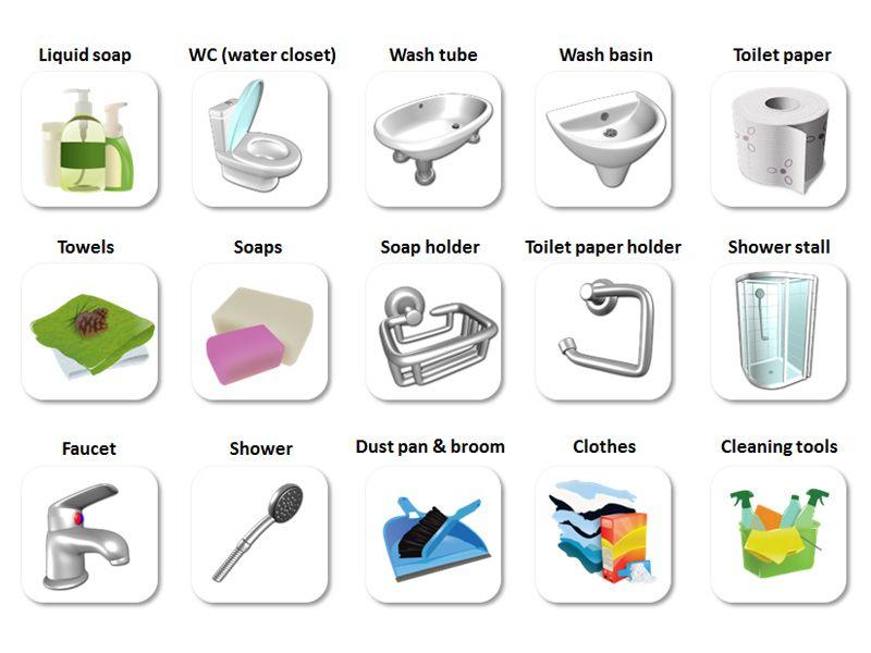 Bathroom english vocabulary angli tina pre samoukov for Utensilios de cocina nombres en ingles